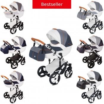 Kombi-Kinderwagen Delti Amelis Hugo 2in1 mit Babywanne & Sportwagenaufsatz / Buggy oder 3in1 + Babyschale, 7 Farben