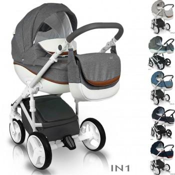 Bexa Ideal New Kombi Kinderwagen, 2in1 mit Babywanne + Sportwagenaufsatz / Buggy oder 3in1 + Babyschale / Autoschale, 6 Farben