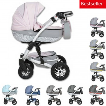 Shell Prestige Kombi Kinderwagen, 2in1 mit Babywanne + Sportwagenaufsatz / Buggy oder 3in1 + Babyschale / Autoschale, 9 Farben