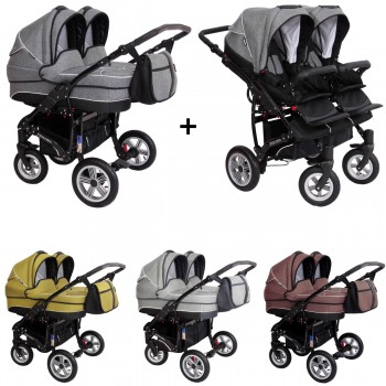 Zekiwa Sport DUO new line Zwillings Geschwister Kombi-Kinderwagen Set 2in1 mit 2 Babywannen + 2 Sportwagenaufsätzen / Buggies oder 3in1 + 2 Babyschalen, 2 Farben