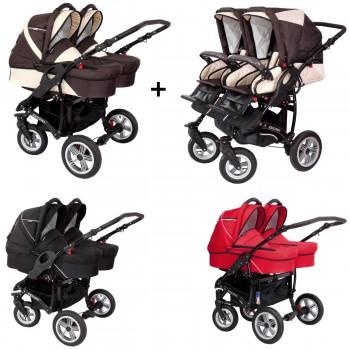Zekiwa Sport DUO Zwillings Geschwister Kombi-Kinderwagen Set 2in1 mit 2 Babywannen + 2 Sportwagenaufsätzen / Buggies oder 3in1 + 2 Babyschalen, 3 Farben