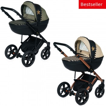 Dada Paradiso Stars 2in1 mit Babywanne + Sportwagenaufsatz / Buggy oder 3in1 + Babyschale / Autoschale, 2 Farben