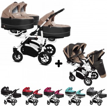Trippy Drillings-Kombi-Kinderwagen 2in1 Set, 3 Babywannen + 3 Sportwagenaufsätze / Buggies, 6 Farben, Gestell weiß; Kollektion 2018