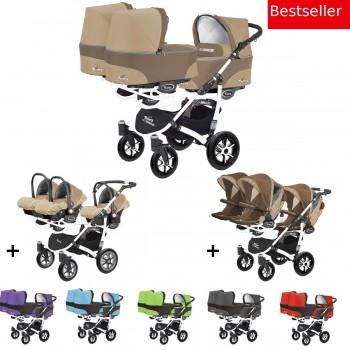 Trippy Drillings-Kombi-Kinderwagen 3in1 Set mit 3 Babyschalen + 3 Babywannen + 3 Sportaufsätzen, 6 Farben, Gestell weiß