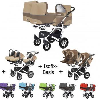 Trippy Drillings-Kombi-Kinderwagen 4in1 KOMPLETT VORTEILSSET mit 3 Babyschalen + 3 Babywannen + 3 Sportaufsätzen + 3x Isofix-Basis, 6 Farben, Gestell weiß