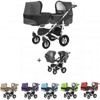 Twinni Zwillings Geschwister Kombi-Kinderwagen Set 2in1 mit 2 Babywannen + 2 Sportwagenaufsätzen / Buggies, Gestell weiß, 6 Farben