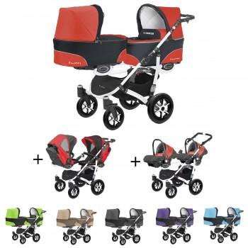 Twinni Zwillings Geschwister Kombi-Kinderwagen 3in1 Komplettset mit 2 Babyschalen + 2 Babywannen + 2 Sportaufsätzen, Gestell weiß, 6 Farben