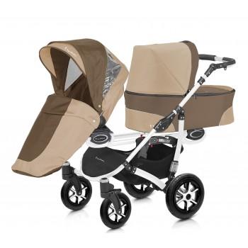 Twinni Zwillings bzw. Geschwister Kombi-Kinderwagen individuell konfigurierbar mit Babywannen, Sportwagenaufsätzen / Buggies & Babyschalen, Gestell weiß, 6 Farben