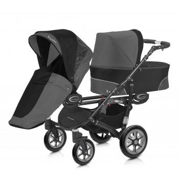 Twinni Zwillings bzw. Geschwister Kombi-Kinderwagen individuell konfigurierbar mit Babywannen, Sportwagenaufsätzen / Buggies & Babyschalen, Gestell schwarz, 6 Farben