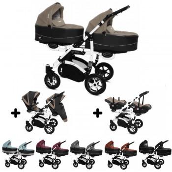 Twinni Zwillings Geschwister Kombi-Kinderwagen 3in1 mit 2 Babyschalen + 2 Babywannen + 2 Sportaufsätzen, Gestell weiß, Kollektion 2018, 6 Farben