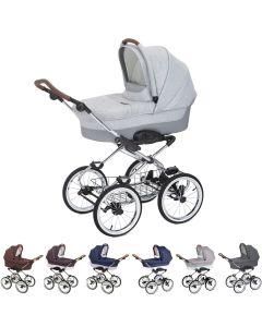 Luxus retro Kombi-Kinderwagen Navington Caravel Stoff mit Babywanne & Wickeltasche, 7 Farben