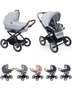 Platzspar Kinderwagen Navington Corvet Stoff, individuell konfigurierbar nur mit Wanne oder als 2in1 mit Babywanne & Sportwagenaufsatz / Buggy, 3 Farben