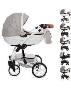 Exclusive Kombi Kinderwagen, 2in1 mit Babywanne + Sportwagenaufsatz / Buggy oder 3in1 + Babyschale / Autoschale, 6 Farben