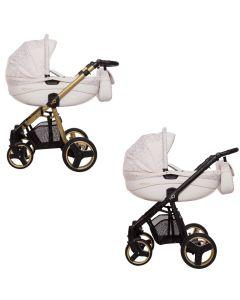MOMMY Golden Lines Kombi Kinderwagen 2in1 mit Babywanne + Sportwagenaufsatz / Buggy oder 3in1 + Babyschale / Autoschale, 2 Farben