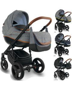 Bexa Ideal New Kombi Kinderwagen, 2in1 mit Babywanne + Sportwagenaufsatz / Buggy oder 3in1 + Babyschale / Autoschale, 2 Farben