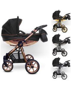 MOMMY Glossy Kombi Kinderwagen 2in1 mit Babywanne + Sportwagenaufsatz / Buggy oder 3in1 + Babyschale / Autoschale, schwarz mit 4 Farben