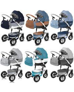 Shell Kombi Kinderwagen, konfigurierbar als 2in1 mit Babywanne + Sportwagenaufsatz / Buggy oder 3in1 + Babyschale / Autoschale, 6 Farben