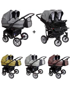 Zekiwa Sport DUO new line Zwillings Geschwister Kombi-Kinderwagen Set 2in1 mit 2 Babywannen + 2 Sportwagenaufsätzen / Buggies oder 3in1 + 2 Babyschalen, 3 Farben