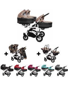 Trippy Drillings-Kombi-Kinderwagen 3in1 Set mit 3 Babyschalen + 3 Babywannen + 3 Sportaufsätzen, 6 Farben, Gestell weiß, Kollektion 2018