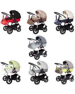 Zekiwa moderner Kombi Kinderwagen TRISet 3in1 Komplettset mit Babywanne, Sportwagenaufsatz / Buggy + Babyschale, 3 Farben