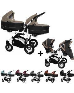 Twinni Zwillings Geschwister Kombi-Kinderwagen 2in1 mit 2 Babywannen + 2 Sportwagenaufsätzen / Buggies, Gestell weiß, Kollektion 2018, 6 Farben