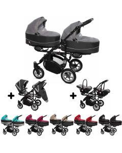 Twinni Zwillings Geschwister Kombi-Kinderwagen 3in1 mit 2 Babyschalen + 2 Babywannen + 2 Sportaufsätzen, Gestell schwarz, Kollektion 2018, 6 Farben