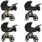 MOMMY Gold Magic Kombi Kinderwagen 2in1 mit Babywanne + Sportwagenaufsatz / Buggy oder 3in1 + Babyschale / Autoschale, 2 Farben